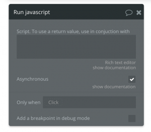 Adding Javascript to a workflow step in Bubble