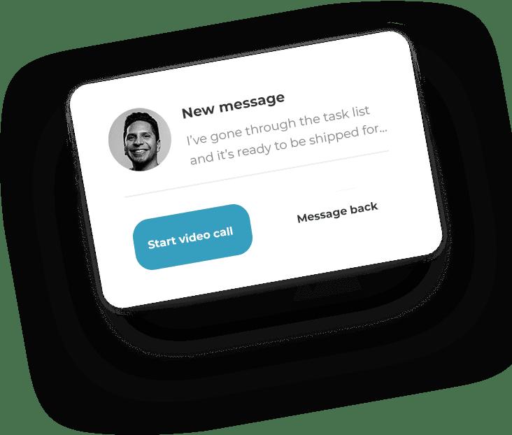 Business messaging app mockup