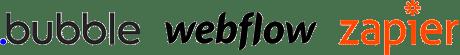 Bubble, Webflow and Zapier logos
