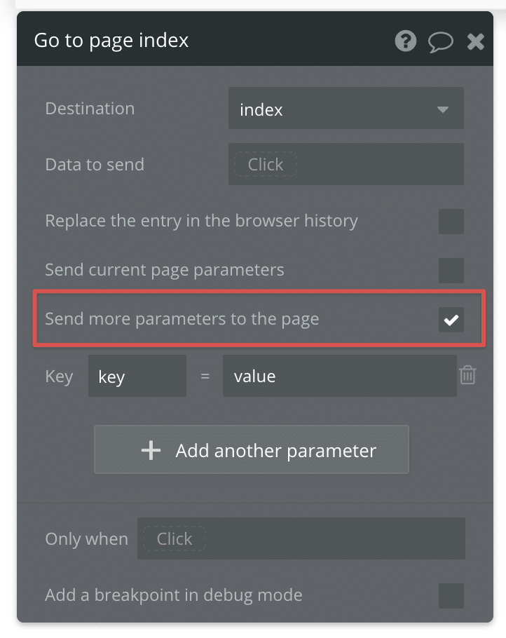 How to send URL parameters in Bubble with the Go to Page action