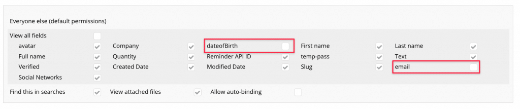 Disallowing the date of birth and email to be exposed using Privacy Rules.