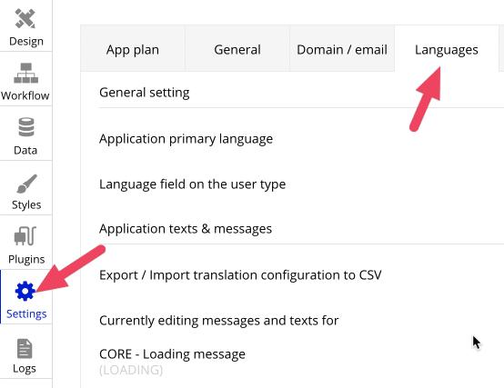 Bubble's Languages tab