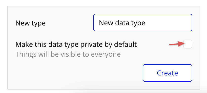 Bubble editor showing the default privacy rule setting checkbox