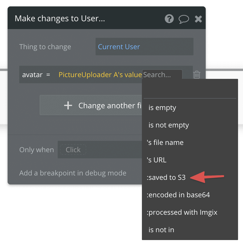 The :saved to S3 operator in the Bubble workflow editor