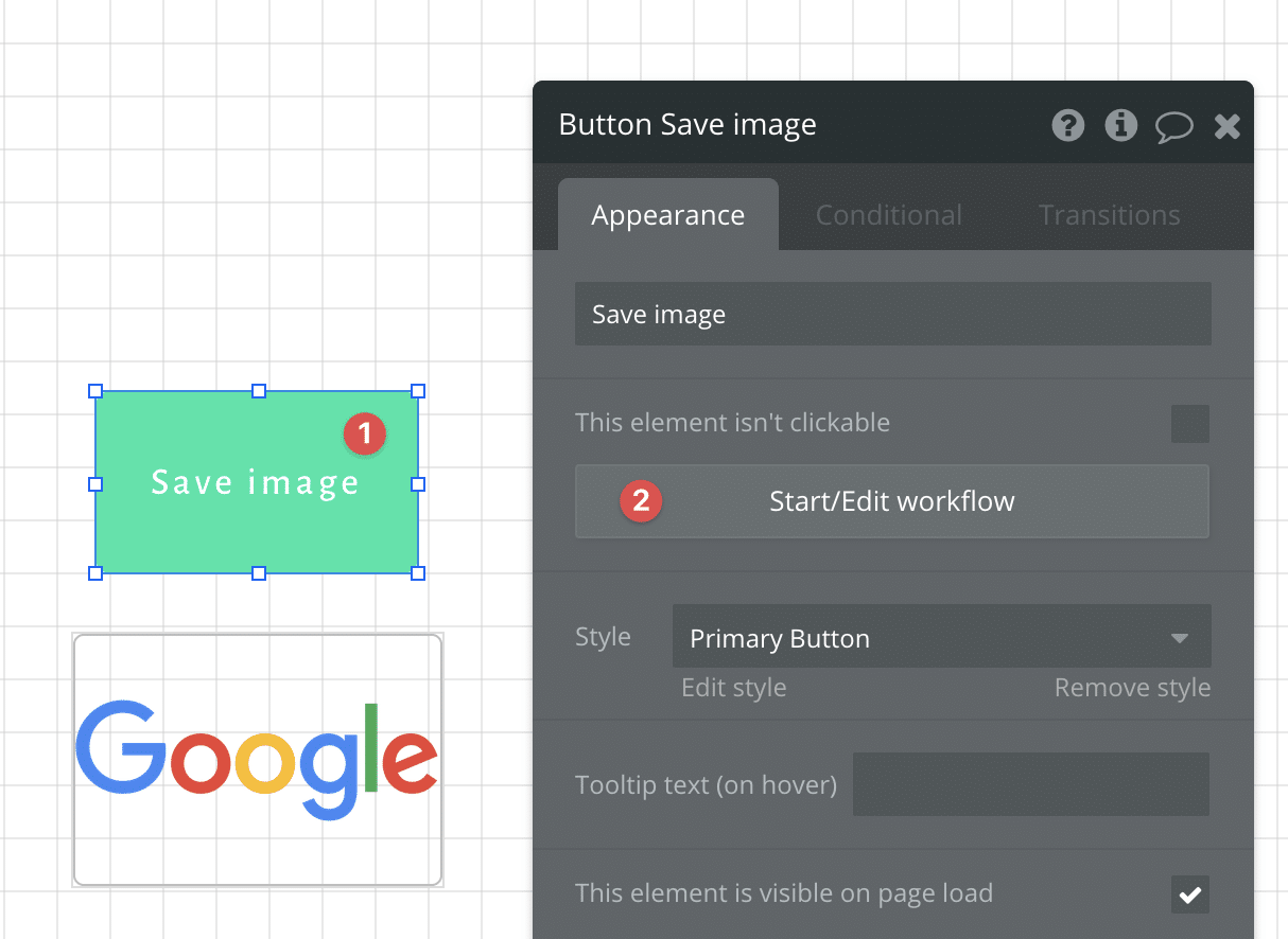 Adding a workflow to a button in Bubble