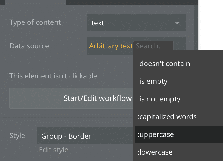 Adding an additional step to an arbitrary text expression in Bubble.