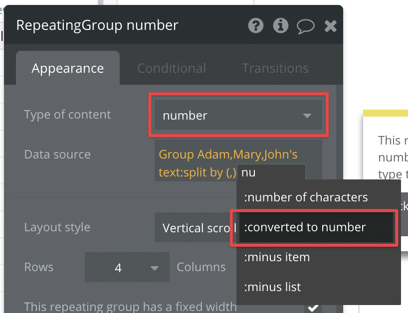 Using the :converted to number operator to turn a list of texts into numbers.