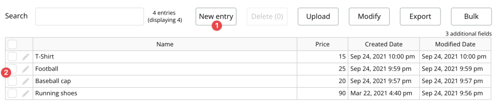 Manually adding entries to the Bubble database