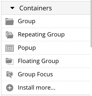Bubble's Container category showing the different group types.