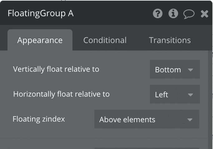 The Floating Group property editor.