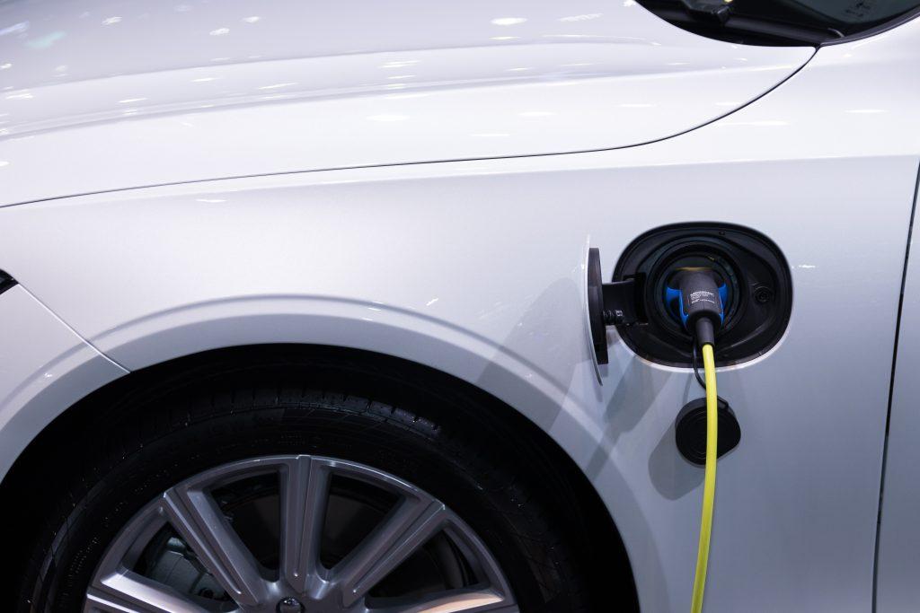 White Electric Car
