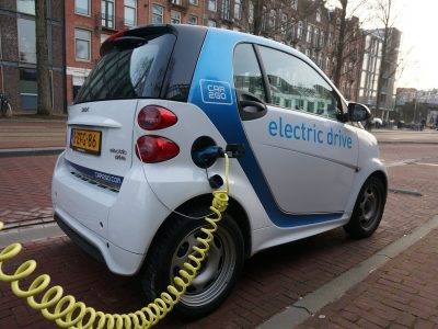 Electric Smart Car being charged