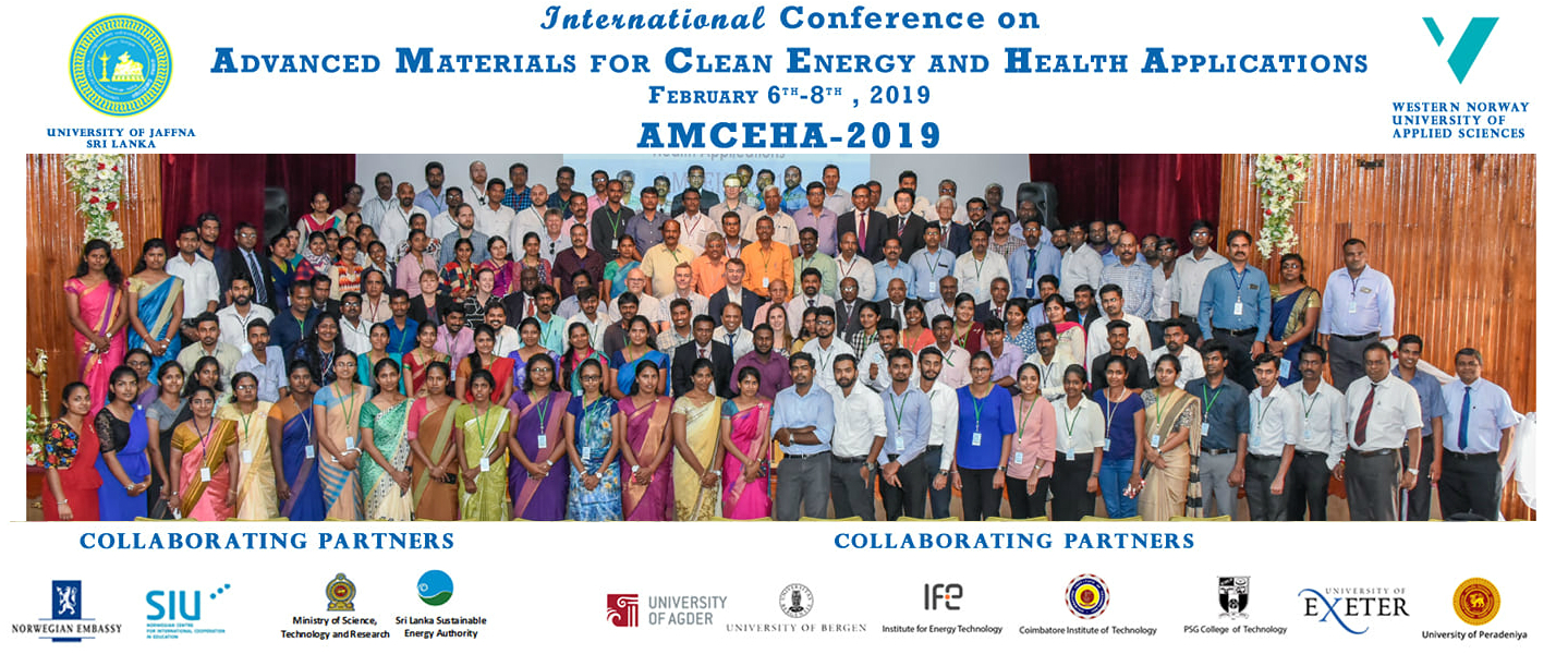AMCEHA 2019: International Conference on Advanced Materials for Clean Energy & Health Applications