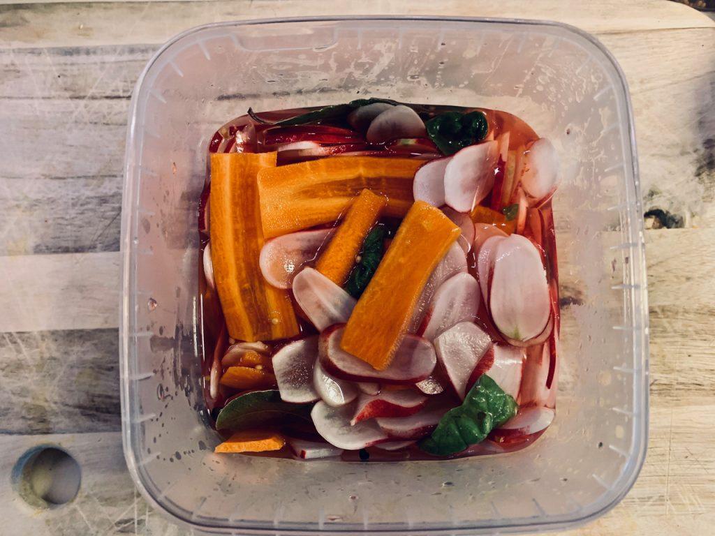 Syltede radiser og gulerødder