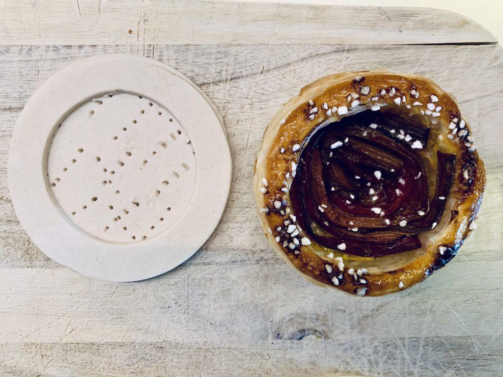Rabarber tærte, før og efter