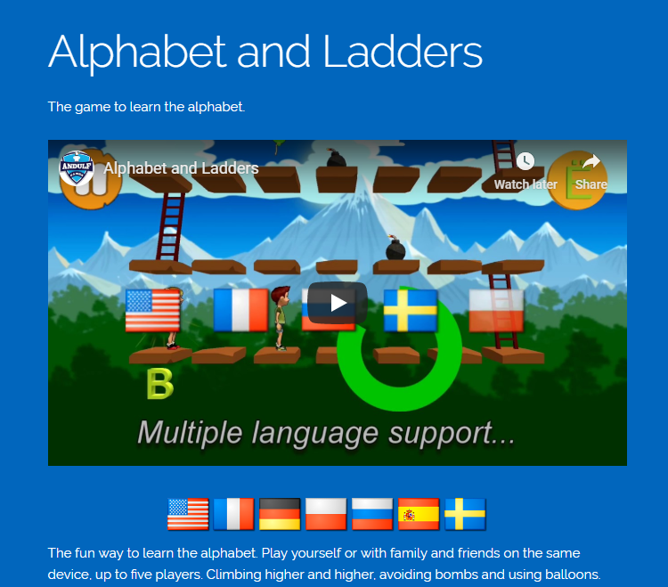 Product website for Alphabet and Ladders