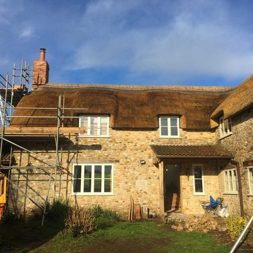 Scaffolding coming off Rose Cottage, Wootton Fizpaine