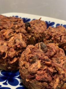 Beet and carrot muffins with raisins