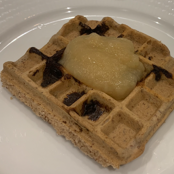 Blueberry Waffles with apple sauce