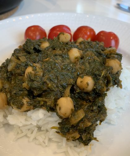 Spinach stew with rice