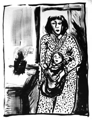 Femme au peignoir et bébé