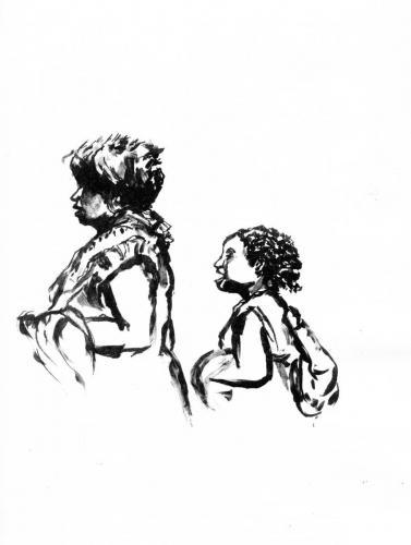 Passants - mère et fille