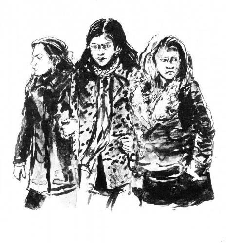 Passants -trois filles