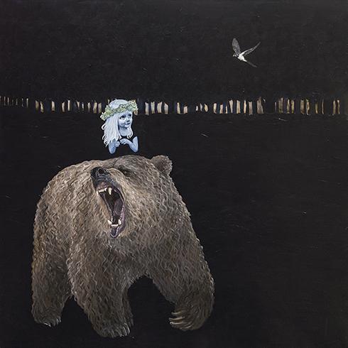 """Hvis en bjørn brøler om natten, kan man så høre det?"" Akryl på lærred 150 x 150 cm"