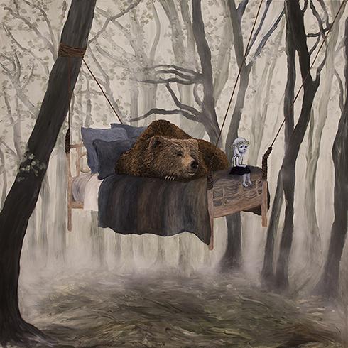 """""""Bjørnen sover"""" Akryl på lærred 150 x 150 cm"""