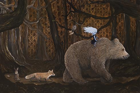 """""""Drømmefangere"""" Akryl på lærred 100 x 150cm"""