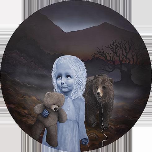 """""""Når tusmørket falder på, er det tid at finde hjem i sin rede og samle kræfter til næste dags eventyr"""" Akryl på lærred 114 cm i diameter"""
