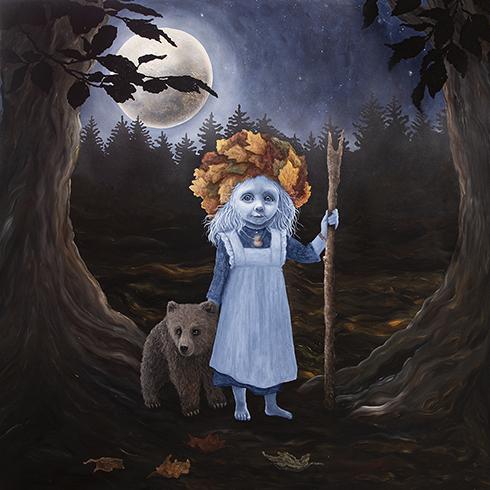 """""""Høstmåne"""" Akryl på lærred 150 x 150 cm"""