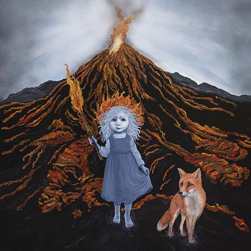 """Ild - de fire elementer"" Akryl på lærred 150 x 150 cm"