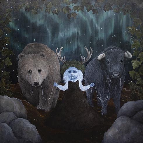 """""""Jord - de fire elementer"""" Akryl på lærred 150 x 150 cm"""