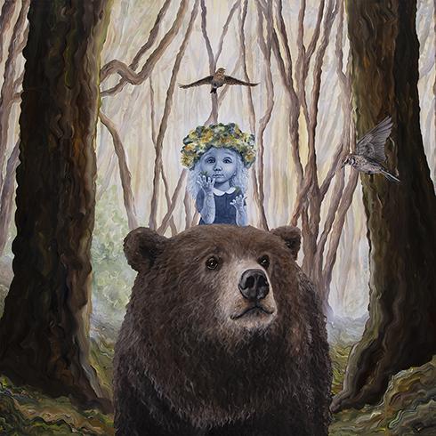 """""""Min Yndling, Du som over vintervange Tør vække Forårslyst"""" Akryl på lærred 150 x 150 cm"""