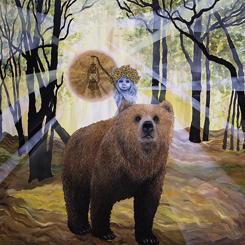 """""""Sommersolhverv"""" Akryl på lærred 150 x 150 cm"""