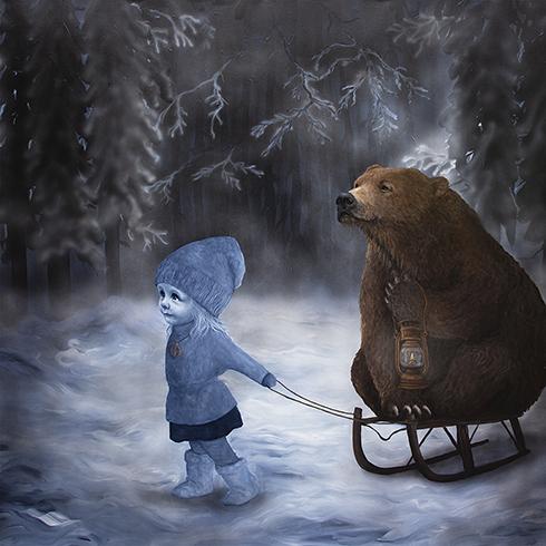 """""""Vintersolhverv"""" Akryl på lærred 150 x 150 cm"""