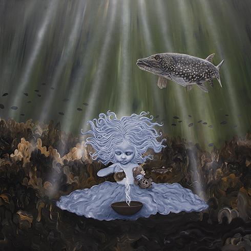 """""""Vand - de fire elementer"""" Akryl på lærred 150 x 150 cm"""
