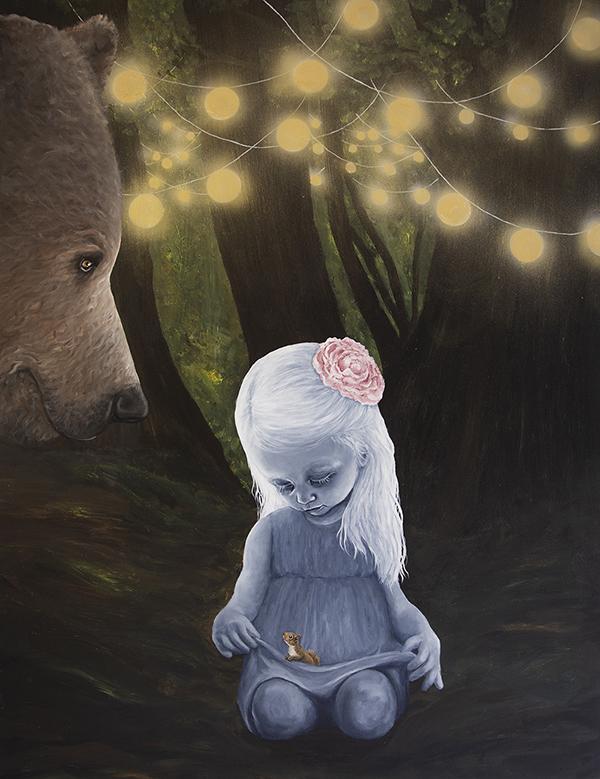 """En sommernat"" akryl på lærred - 130 x 100 cm"