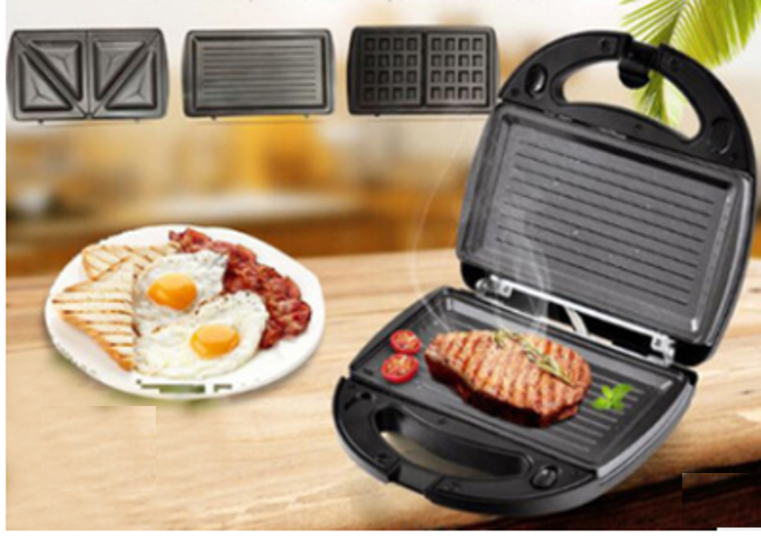 Electric Sanwich Maker Automatic Mini Waffle Bread ...