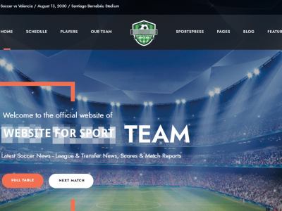 Webseite fuer Fussballclubs und Sportvereine
