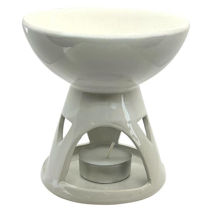 Hvid duftlampe med stor skål