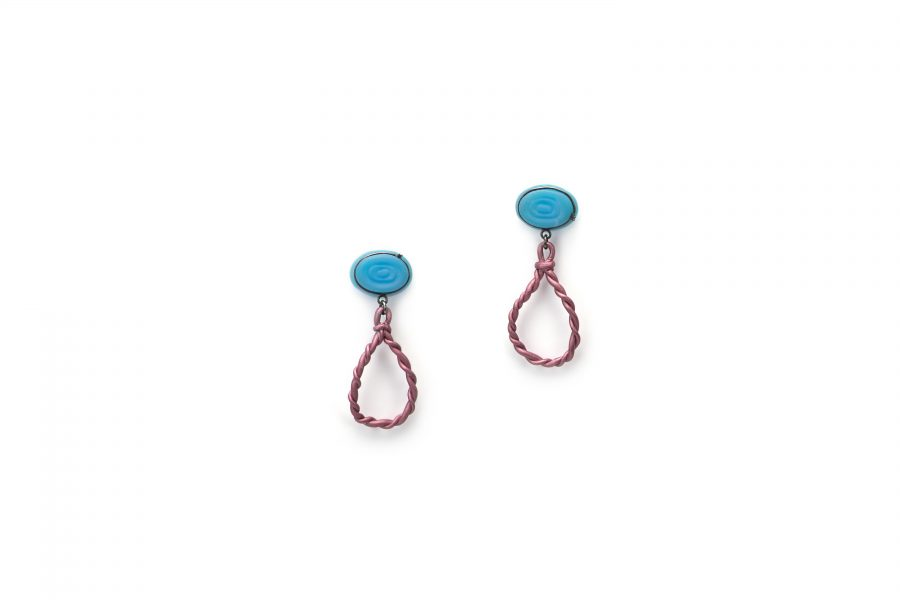 Eva Burton | Stone Candies | Earrings | 2017 | Anodized aluminium, agate, silver, patina