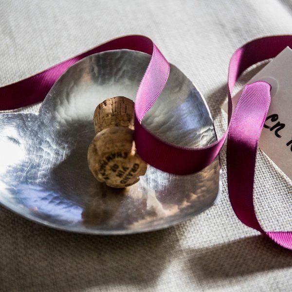 Heart bowl handmade pewter decoration ribbon