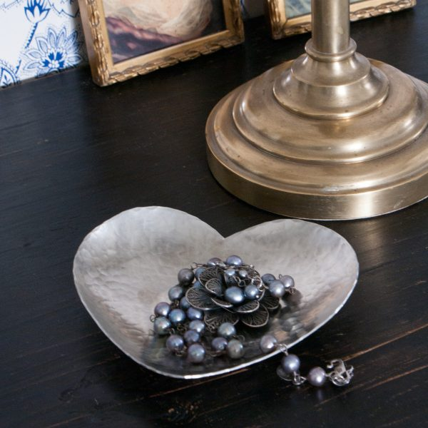 Heart bowl handmade pewter for jewellery