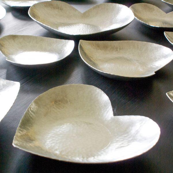 Heart bowl handmade pewter