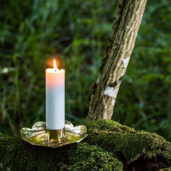 candleholder flower brass handmade in the forest