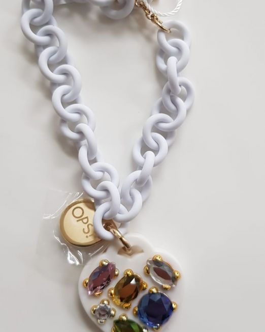 OPS!OBJECT Armband Weiß mit Herz und 6 Steinen