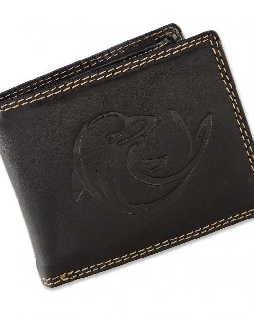 Geldbörse aus Wasserbüffel Leder in Schwarz mit Delfin Motiv