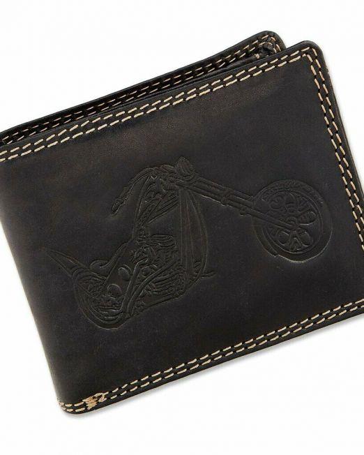Tillberg Herren Geldbörse Portmonee in Schwarz aus echtem Wasserbüffelleder Motorrad 9,5×1